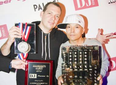 Handing it over: 2009 ABDJ winner Z-Trip (left) and 2010 winner Qbert.