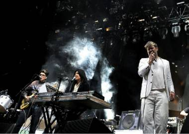 All my friends: Whang (center) and Murphy (right) lead LCD Soundsystem to town on October 12.
