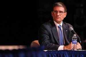 Republican Joe Heck appears at a 3rd Congressional District debate Saturday at CSN Cheyenne campus.
