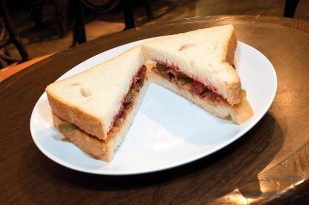 Peanut butter, Jelly, Bacon, and Jalapeno sandwich at The Beat Coffee House, Monday, November 1st, 2010