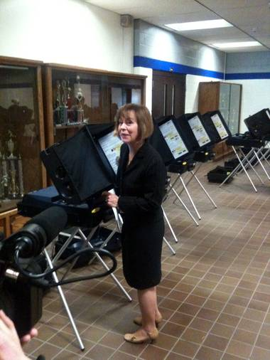 Nevada Republican Senate candidate Sharron Angle prepares to cast her ballot Tuesday in Reno.