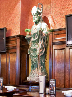 This plastered St. Patrick wants you to get plastered...with a Guinness.
