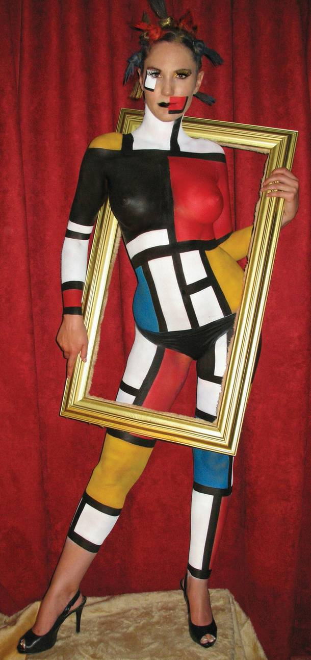 Mondrian model by Skin City Body Painting