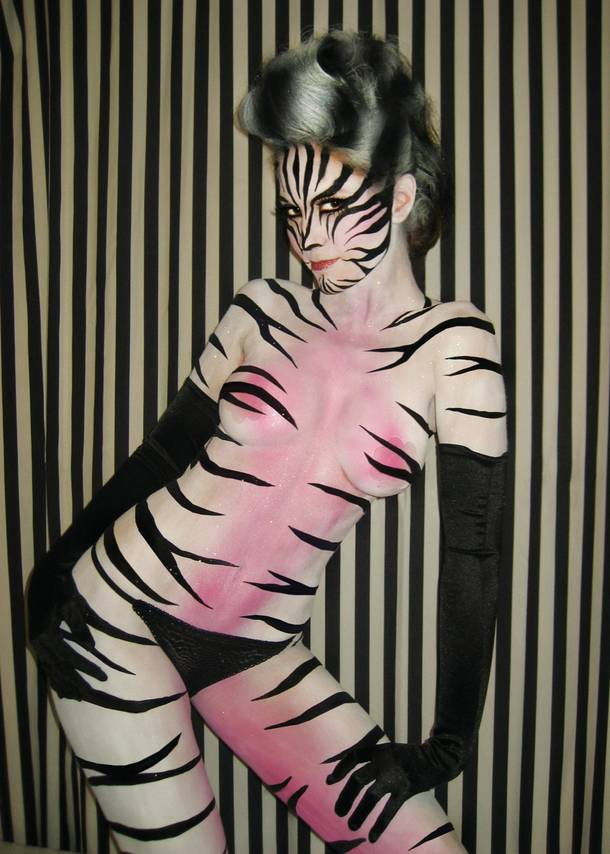 Zebra model by Skin City Body Painting