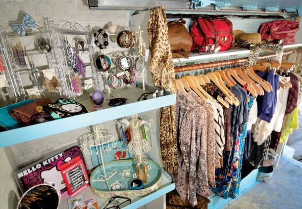 The Haute Chix fashion truck has racks of clothing, shelves of accessories and even includes a makeshift dressing room.