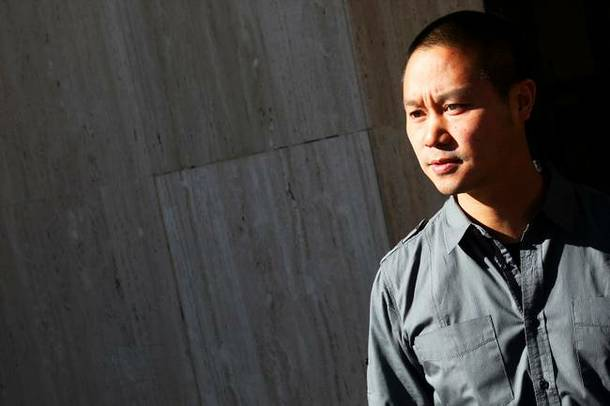 Zappos CEO Tony Hsieh is shown at a Las Vegas City Council meeting Dec. 1, 2010, when it was officially announced the existing City Hall building would be used as the headquarters for Zappos.