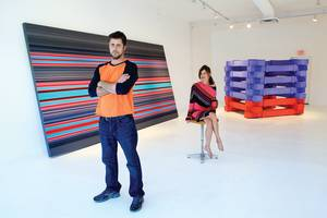 Jason Adkins and Shannon McMackin, inside Pop Up Art House, renamed Vast Space Projects.