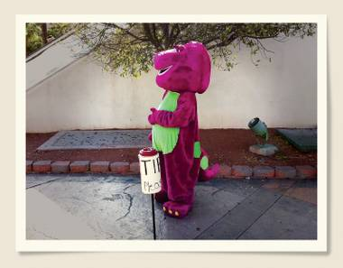 Who wants a photo with Barney?