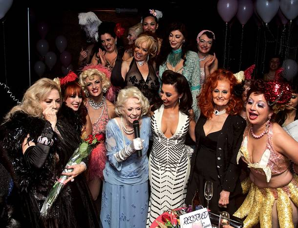 Burlesque friends celebrate Dixie Evans' 85th birthday at the Royal Resort.