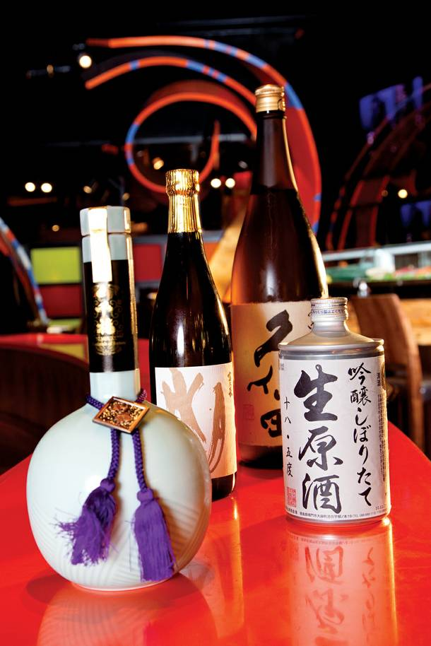 SushiSamba's sake list is 128 bottles strong and growing. This light blue bottle of Sempuku (Thousands of Fortune) is the most expensive at $2,885.