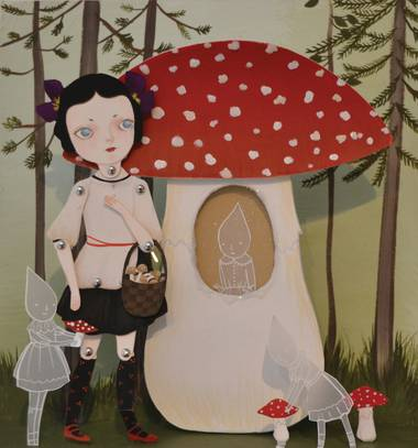 Amy Earles' 'Mushroom Hunter' is part of Trifecta Gallery's 'minUMENTAL: freshMEAT' show.