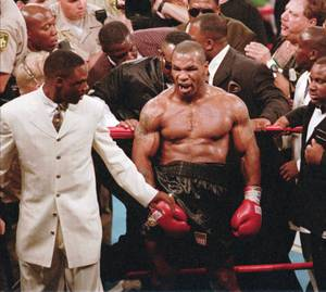 Mike Tyson moments after the infamous ear incident during his 1997 fight with Evander Holyfield.