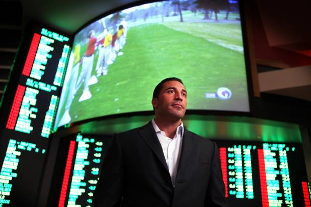 Joe Magliarditi, the president of the Palms, stands in front of the temporary sports book area inside the Palms on Friday, March 30, 2012.