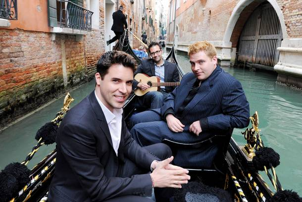 Stratosphere headliner Frankie Moreno and his brothers Ricky and Tony take a gondola ride through Venice while singing