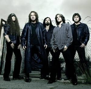 Hair transplant: Ron Keel, second from left, seen here in the band Keel, is now appearing in the <em>Country Superstars</em> show.