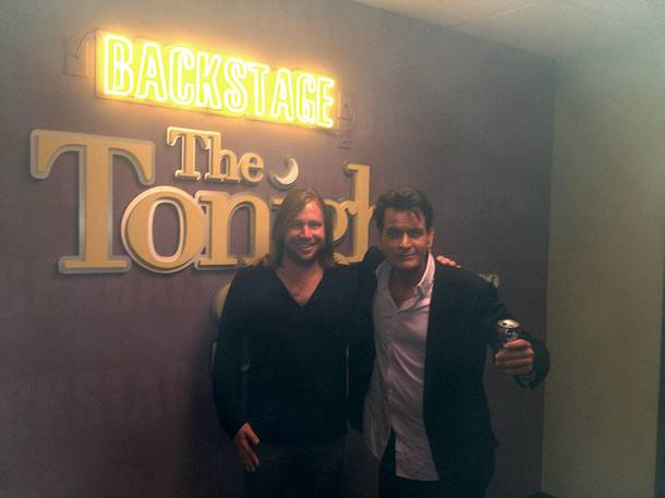 Imagine Dragons bassist Ben McKee and Charlie Sheen.