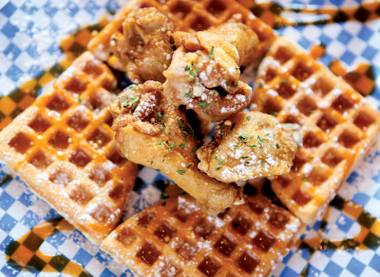 Wings and waffles, on the menu at Bobby Q Grille and in your dreams tonight.