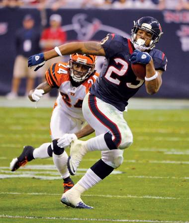 Houston running back Arian Foster is the Caesars sports books favorite to lead the NFL in rushing yards this season.