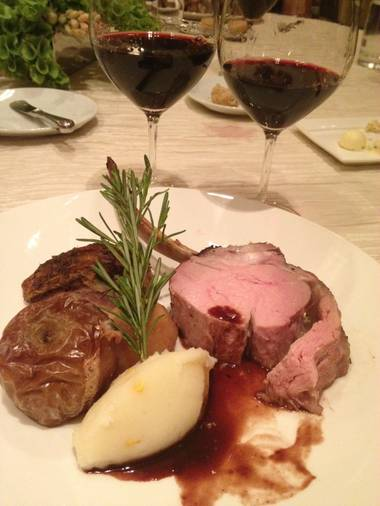 The main event: roasted rack of veal with poached figs and braised apple, plus two different Antinori Solaia Super Tuscans.
