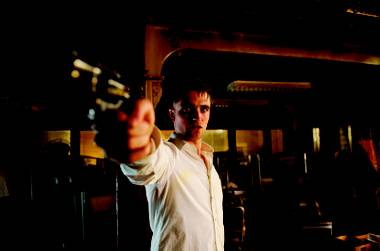 Robert Pattinson gets in touch with his inner Dirty Harry in a scene from Cosmopolis.