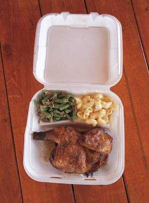 Road Kill Grill's filling half-chicken dinner, with mac and cheese and green beans.