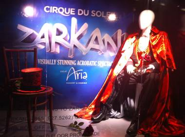 This window display is one of few obvious promotions for Cirque du Soleil's upcoming Zarkana.