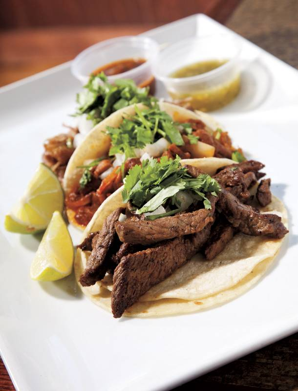 Leticia's Mexican street tacos are filled with carne asada, al pastor, carnitas, chicken or goat.