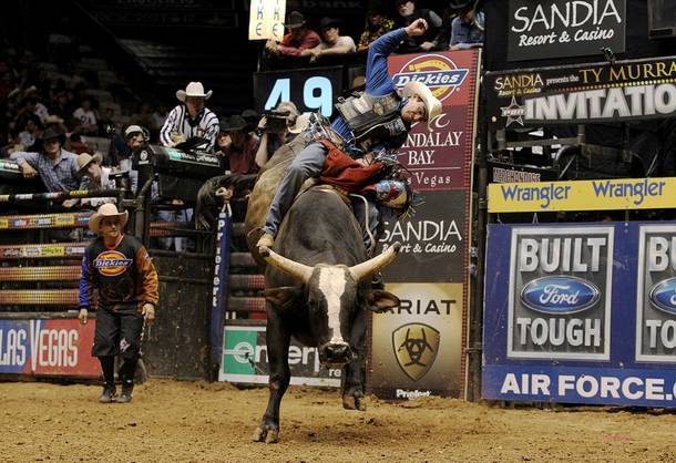 Renato Nunes tries to make the whistle on PBR legend Chicken on a Chain.