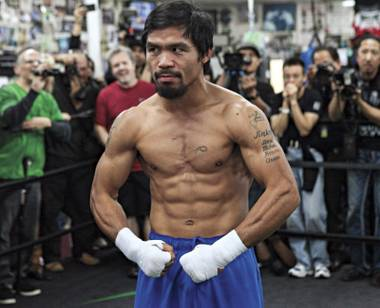 Manny Pacquiao may still be stinging from his controversial loss to Timothy Bradley. He might just come in to his bout with Juan Manuel Marquez this weekend with a bit of a chip on his shoulder, doncha think?