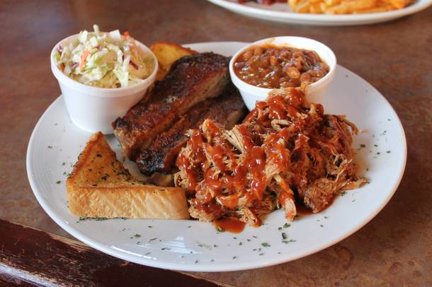 Top Notch's two-meat combo plate with spareribs, pulled pork, baked beans and coleslaw.