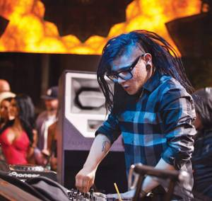 Skrillex spins at Surrender Sunday night.