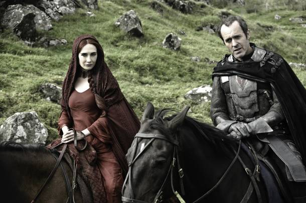 Carice van Houten and Stephen Dillane as two of the literally dozens of characters to keep track of on HBO's dense, sprawling Games of Thrones.
