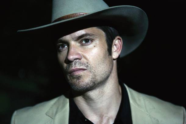 FX's Justified is smart, funny, and stars Timothy Olyphant. Hat trick.