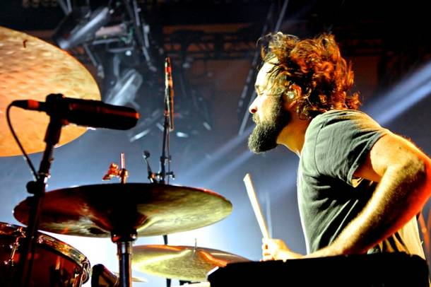 Killers drummer Ronnie Vanucci Jr. drives the band's beats on December 28, 2012 at the Chelsea at the Cosmopolitan.