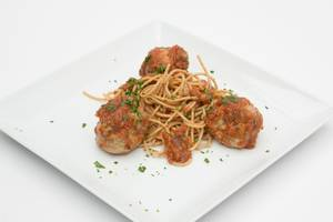 My Healthy Meal's turkey meatballs with quinoa spaghetti.