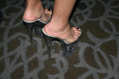 The shoes of the Adult Entertainment Expo at the Hard Rock Hotel in Las Vegas on Friday, January 18, 2013.