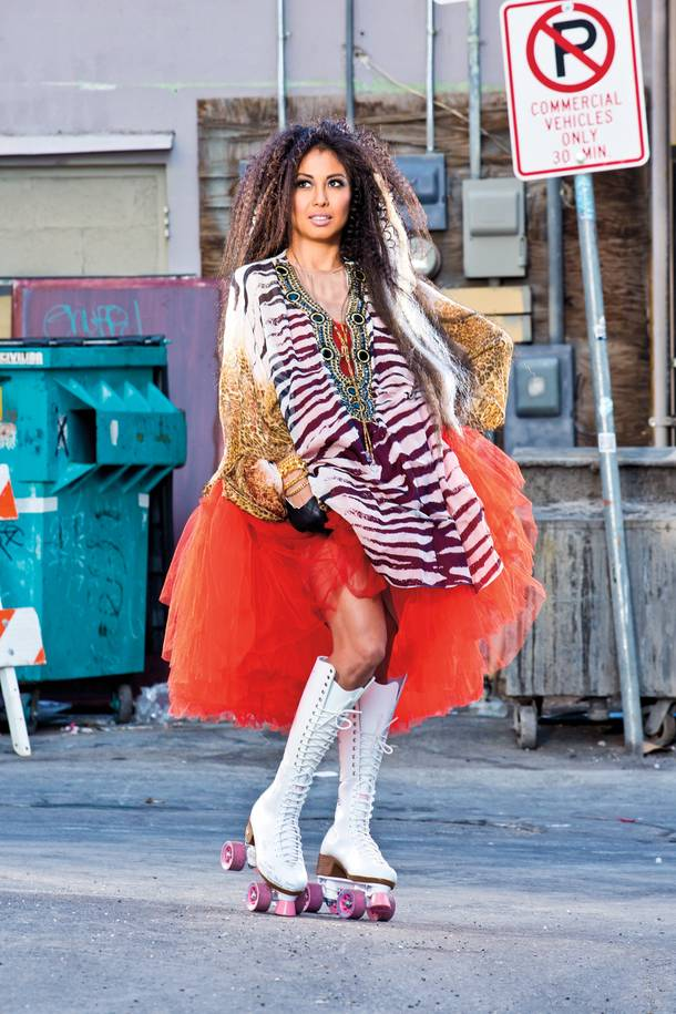 "Coterie's Sarah Nisperos in her own Lanvin for H&M tulle dress, a Kareenas Trends kaftan and custom ""yearbook"" skates."