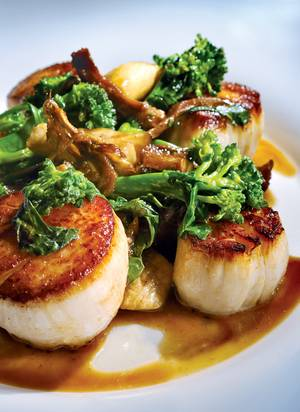 Scallops and rapini at Sage.