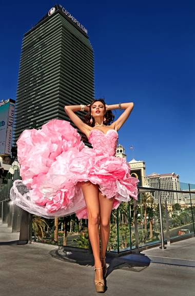 Las Vegas designer Jennifer Henry creates colorful couture out of cellophane and paper.