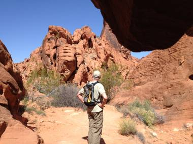 From inside a cave, I snapped my dad enjoying the scenery at Valley of Fire. The state park is incredibly beautiful and accessible. Just leash your dogs and be ready to sweat.