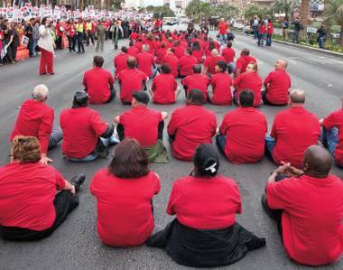 The Culinary Union's sit-down strike on the Strip attracted the attention of hundreds of news outlets.