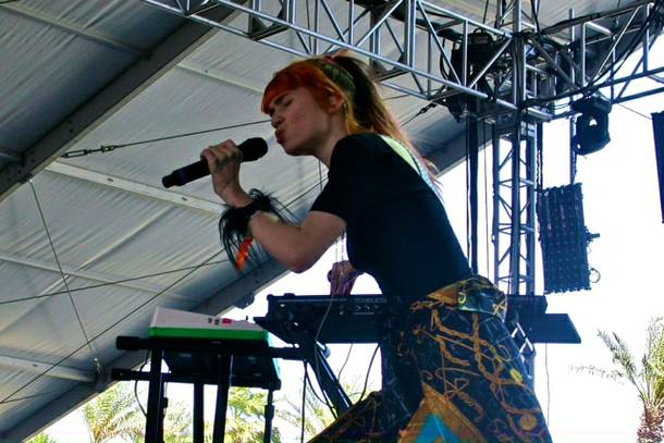 No band necessary: Grimes built excitement on top of her beats from the Gobi Tent.