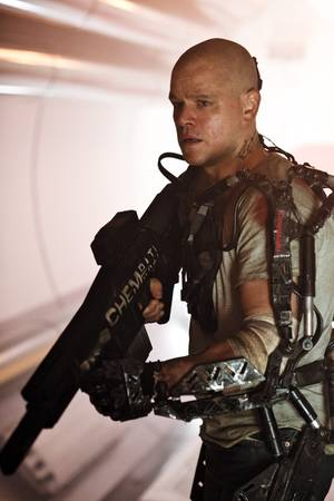 <em>Elysium</em>'s Matt Damon prepares for battle.