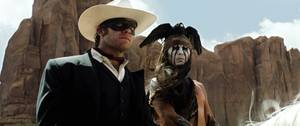 <em>The Lone Ranger</em>'s Armie Hammer and Johnny Depp.