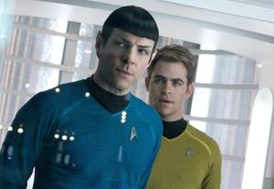 Spock and Kirk puzzle over lens flare in <em>Star Trek Into Darkness</em>.