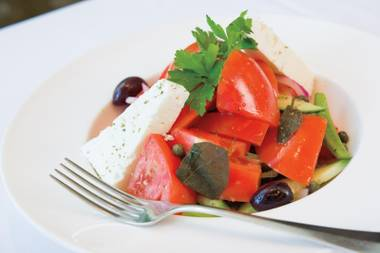 On a menu full of exotic seafood, the Greek tomato salad at Estiatorio Milos is a standout.