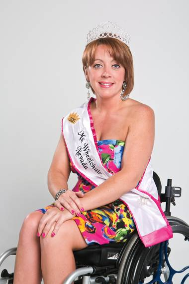 Ms. Wheelchair Nevada Ashley Varndell looks good in a tiara, and she can refinish your floors, too.