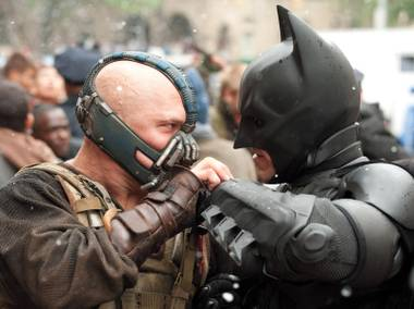 Nasty lite: In The Dark Knight Rises, Batsy gets a knife twisted in his heart for three and a half minutes. But because there's no blood, it's PG-13.