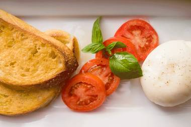 Chef Enzo Febbraro's easy burrata bruschetta is a lovely anytime bite.