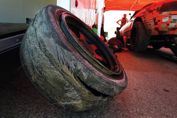 About $8,000 of Danny's budget goes to tires. This one burst like a sausage skin at Willow Springs, giving a whole new meaning to